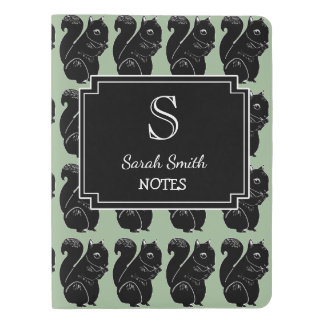 Personalized Black Squirrels Print Notebook