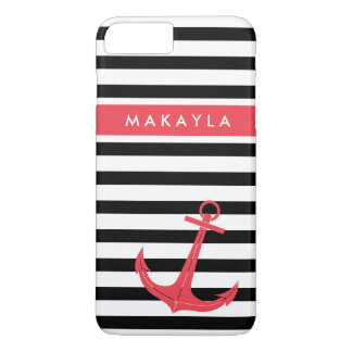 Personalized Black Stripes with Hot Pink Anchor iPhone 7 Plus Case