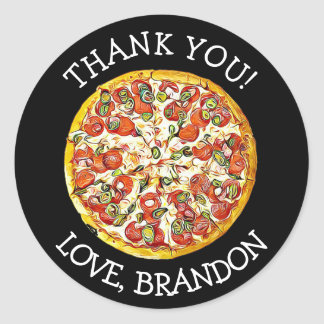 Personalized Black Thank You Pizza Party Stickers