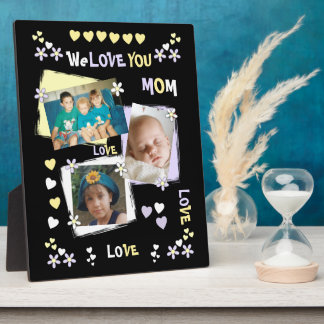 Personalized black We Love You Mom Photo Plaque