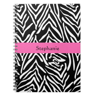 Personalized Black, White and Hot Pink Zebra Print Notebook