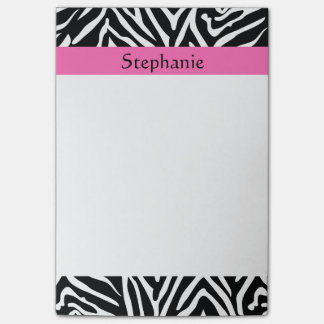 Personalized Black, White and Hot Pink Zebra Print Post-it Notes