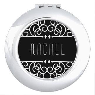 Personalized Black & White Art Deco Compact Mirrors