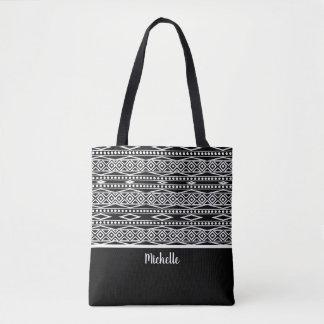 Personalized | Black White Aztec Tribal Pattern Tote Bag