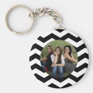 Personalized Black White Chevron Photo Keychain