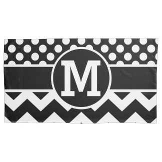 Personalized Black White Chevron Polka Dots Pillowcase
