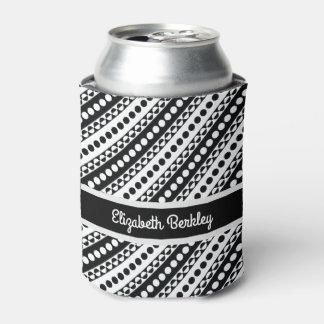 Personalized, Black & White Diagonal Retro Pattern Can Cooler