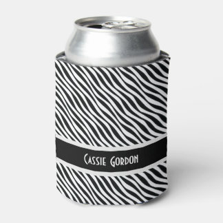 Personalized, Black & White Diagonal Waves Pattern Can Cooler