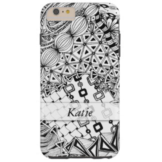 Personalized Black & White Doodled, Tangle ZIA, 02 Tough iPhone 6 Plus Case
