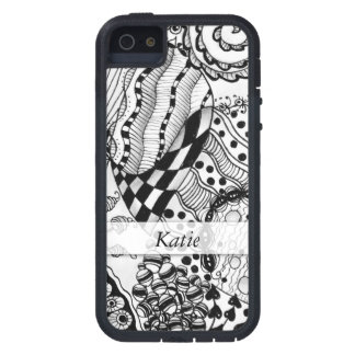 Personalized Black & White Doodled, Tangle ZIA, 04 iPhone 5 Cover