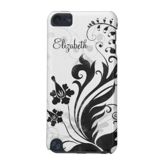 Personalized Black White Floral iPod Touch 5G Covers
