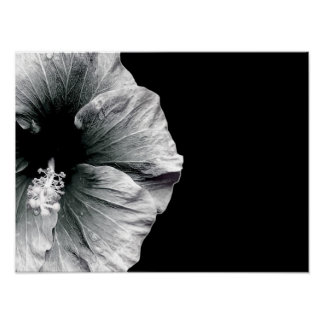 PERSONALIZED BLACK & WHITE HIBISCUS FLOWER PRINT