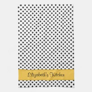 Personalized Black White Polka Dot Yellow Tea Towel