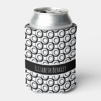 Personalized, Black & White Retro Circles Pattern Can Cooler