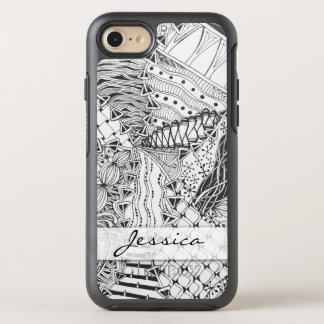 Personalized Black & White Tangle Zendoodle ZIA 10 OtterBox Symmetry iPhone 7 Case