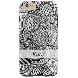 Personalized Black & White Zendoodle Tangle ZIA 07 Tough iPhone 6 Plus Case