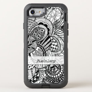 Personalized Black & White Zendoodle Tangle ZIA 08 OtterBox Defender iPhone 7 Case