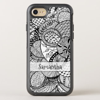 Personalized Black & White Zendoodle Tangle ZIA 09 OtterBox Symmetry iPhone 7 Case