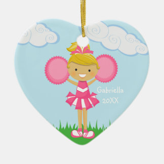 Personalized Blonde Haired Cheerleader Ornament