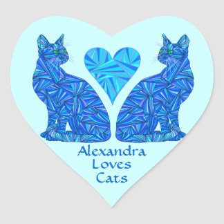 Personalized Blue Abstract Cat Custom Stickers