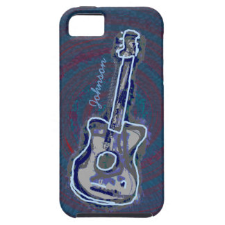personalized blue acoustic guitar tough iPhone 5 case