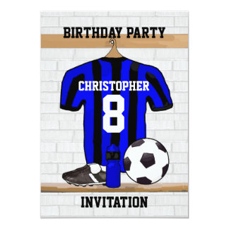 Personalized Blue and Black Football Soccer Jersey 13 Cm X 18 Cm Invitation Card