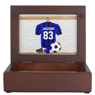 Personalized Blue and Black Striped Soccer Jersey Keepsake Boxes