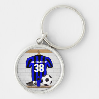 Personalized Blue and Black Striped Soccer Jersey Key Ring
