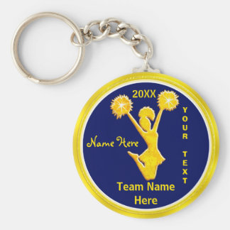 PERSONALIZED Blue and Gold Cheap Cheerleader Gifts Basic Round Button Key Ring