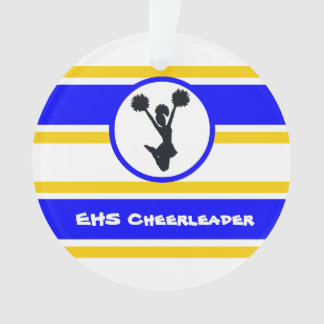 Personalized Blue and Gold Cheerleader Ornament