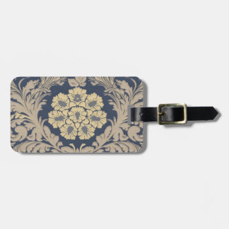 Personalized Blue and Gold Damask Luggage Tag