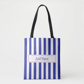 Personalized Blue and Red Striped Bag