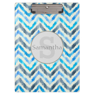 Personalized Blue and White Chevon Clipboard