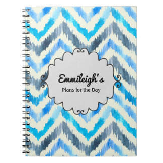 Personalized Blue and White Chevron  Journal