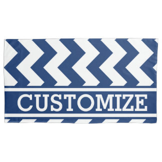 Personalized Blue and White Chevron Pattern Pillowcase
