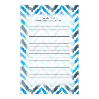 Personalized Blue and White Chevron Stationery