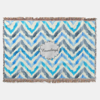 Personalized Blue and White Chevron Throw Blanket