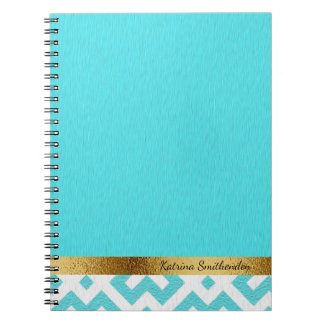 Personalized Blue and White Geometric and Gold Notebook