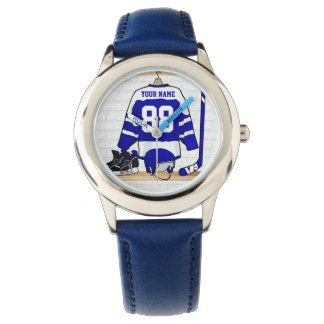 Personalized Blue and White Ice Hockey Jersey Watch