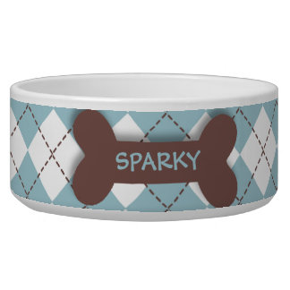 Personalized blue argyle dog bone pet food bowl