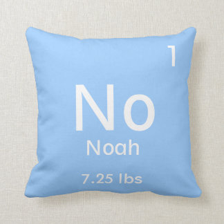 Personalized Blue Baby Boy Element Throw Pillow