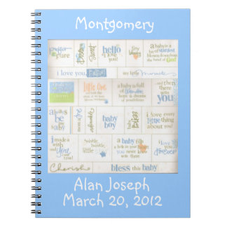 Personalized Blue Baby Boy Sayings Guest Notebook