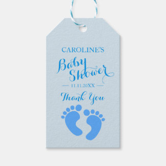 Personalized Blue Baby Feet Boy Baby Shower Gift Tags