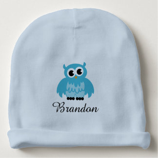 Personalized blue baby hat with cute owl bird baby beanie