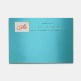 Personalized Blue Baby Thank You Gift Favor Post-it® Notes