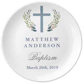 Personalized Blue Baptism Keepsake Plate