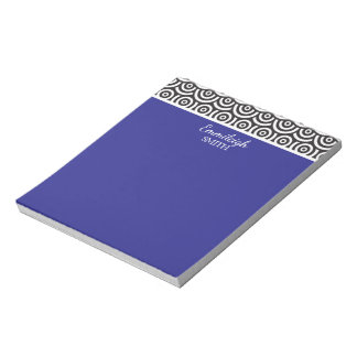 Personalized Blue Black and White Retro Notepad