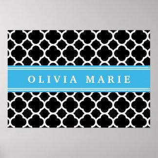 Personalized Blue Black Quatrefoil Pattern Poster