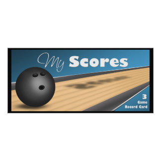 Personalized Blue Bowling Score Cards Customised Rack Card