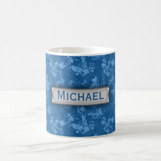 Personalized Blue Camo Pattern Mugs